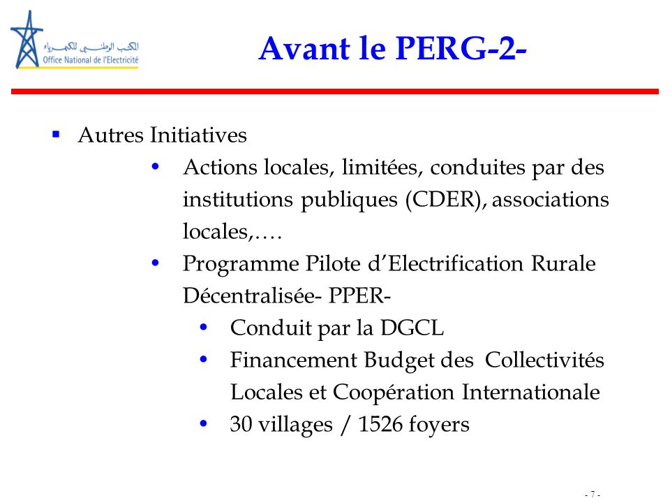 Avant le PERG-2- Autres Initiatives