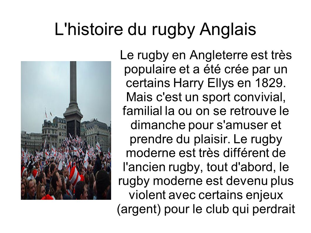 L histoire du rugby Anglais