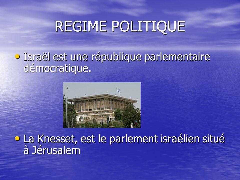 REGIME POLITIQUE Israël est une république parlementaire démocratique.
