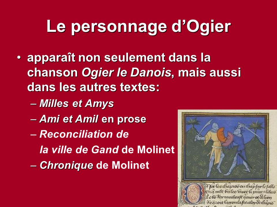 Le personnage d'Ogier apparaît non seulement dans la chanson Ogier le Danois, mais aussi dans les autres textes: