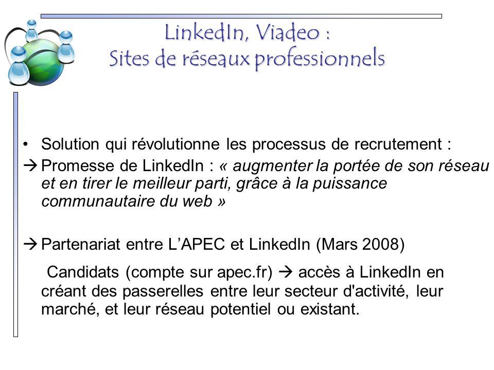 LinkedIn, Viadeo : Sites de réseaux professionnels