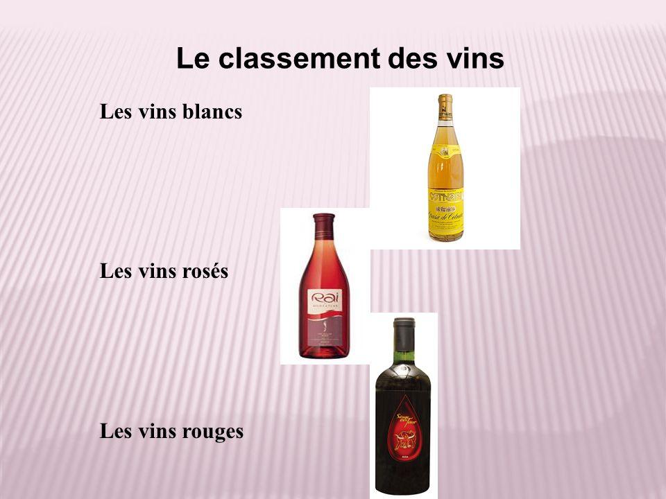 Le classement des vins Les vins blancs Les vins rosés Les vins rouges
