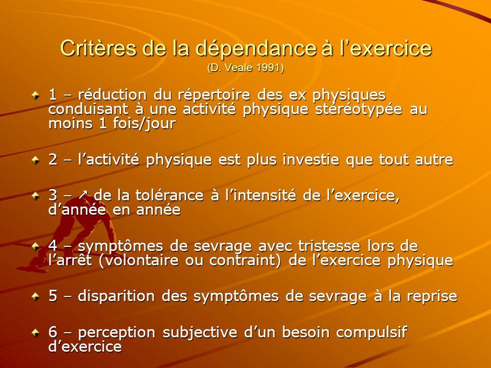Critères de la dépendance à l'exercice (D. Veale 1991)