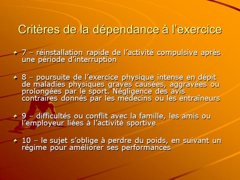 Critères de la dépendance à l'exercice