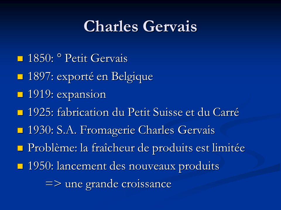 Charles Gervais 1850: ° Petit Gervais 1897: exporté en Belgique