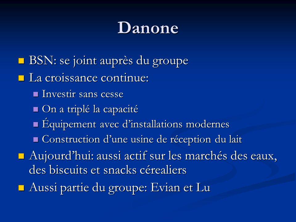 Danone BSN: se joint auprès du groupe La croissance continue: