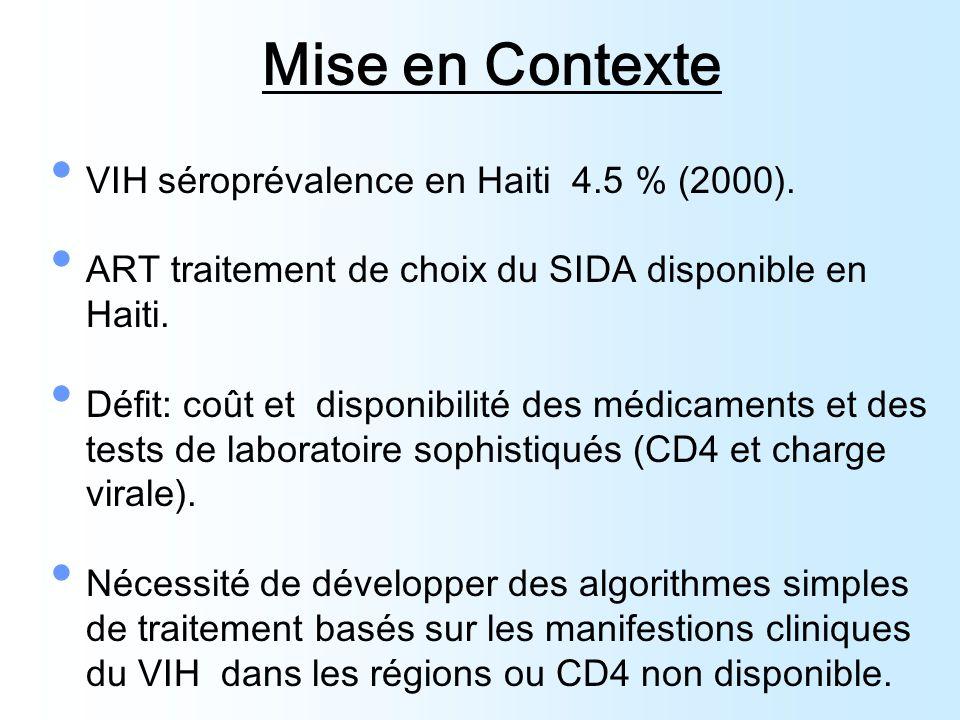 Mise en Contexte VIH séroprévalence en Haiti 4.5 % (2000).