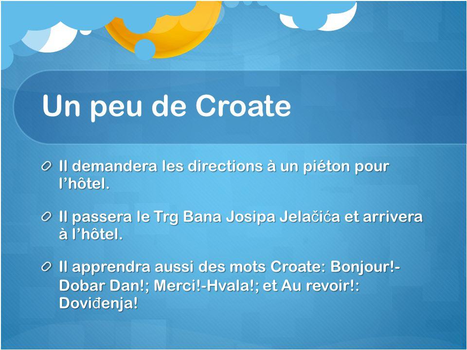 Un peu de Croate Il demandera les directions à un piéton pour l'hôtel.