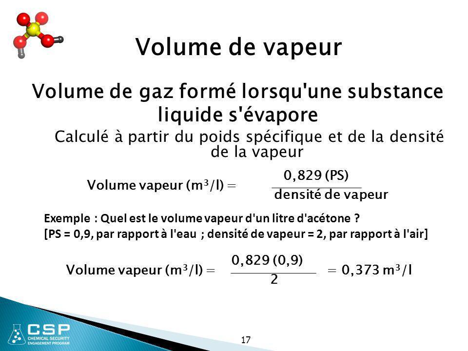 Volume de gaz formé lorsqu une substance