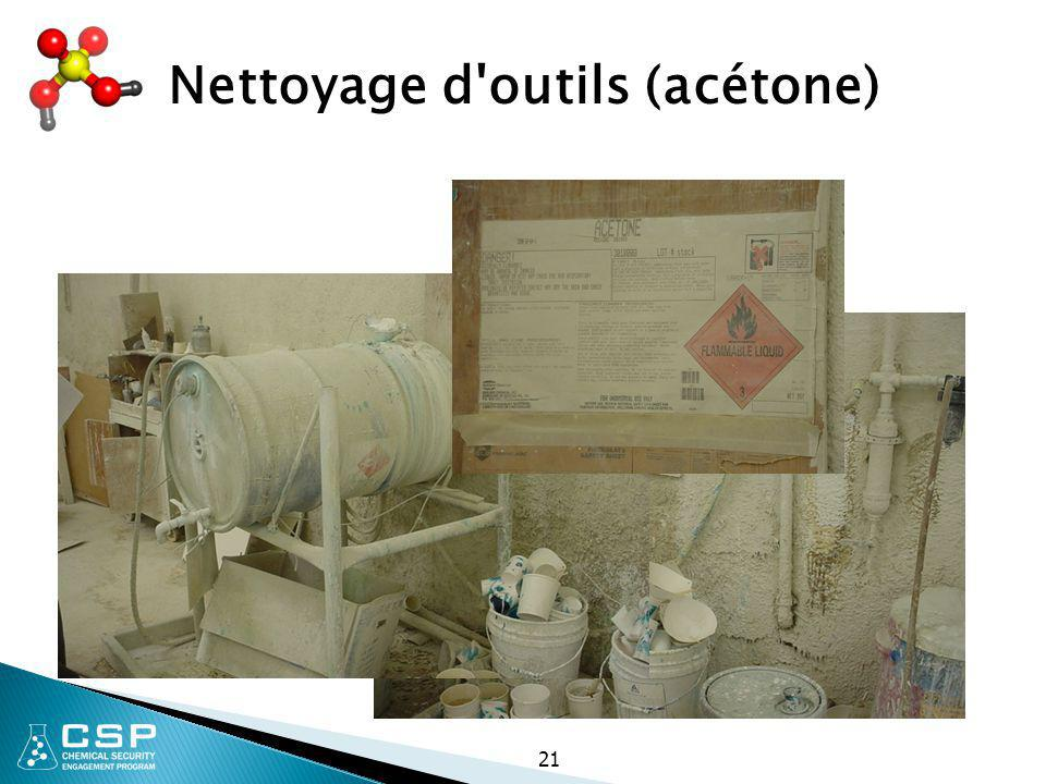 Nettoyage d outils (acétone)