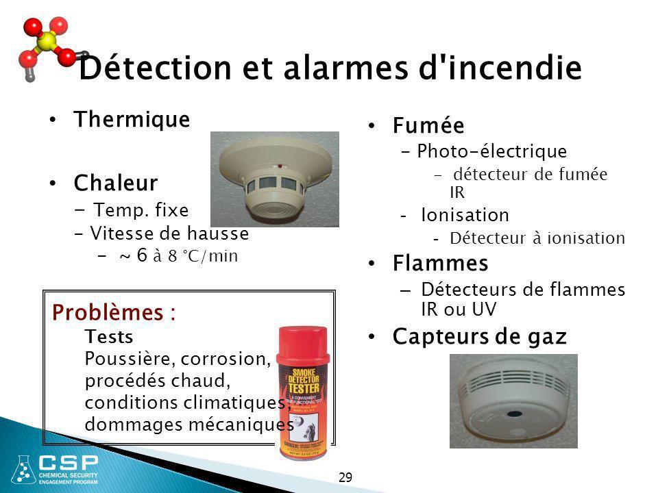 Détection et alarmes d incendie