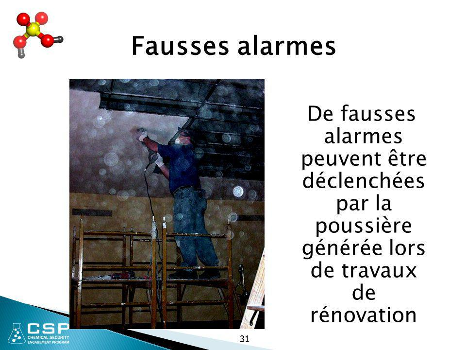 Fausses alarmes De fausses alarmes peuvent être déclenchées par la poussière générée lors de travaux de rénovation.