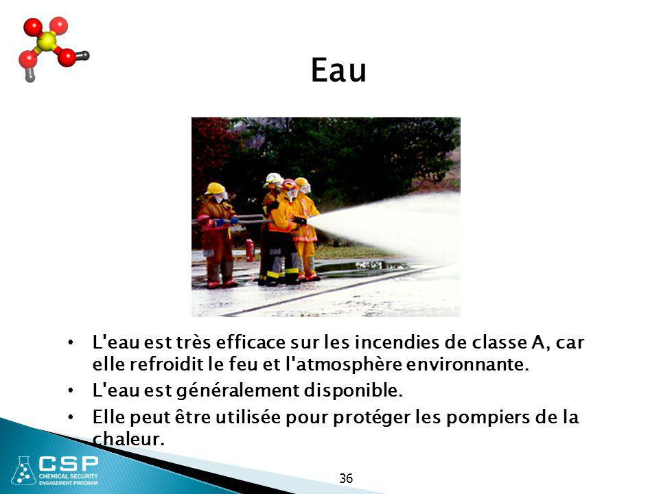 Eau L eau est très efficace sur les incendies de classe A, car elle refroidit le feu et l atmosphère environnante.