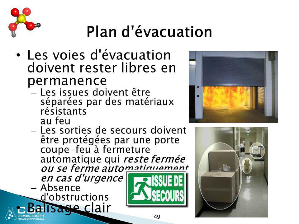 Plan d évacuation Les voies d évacuation doivent rester libres en permanence. Les issues doivent être séparées par des matériaux résistants au feu.