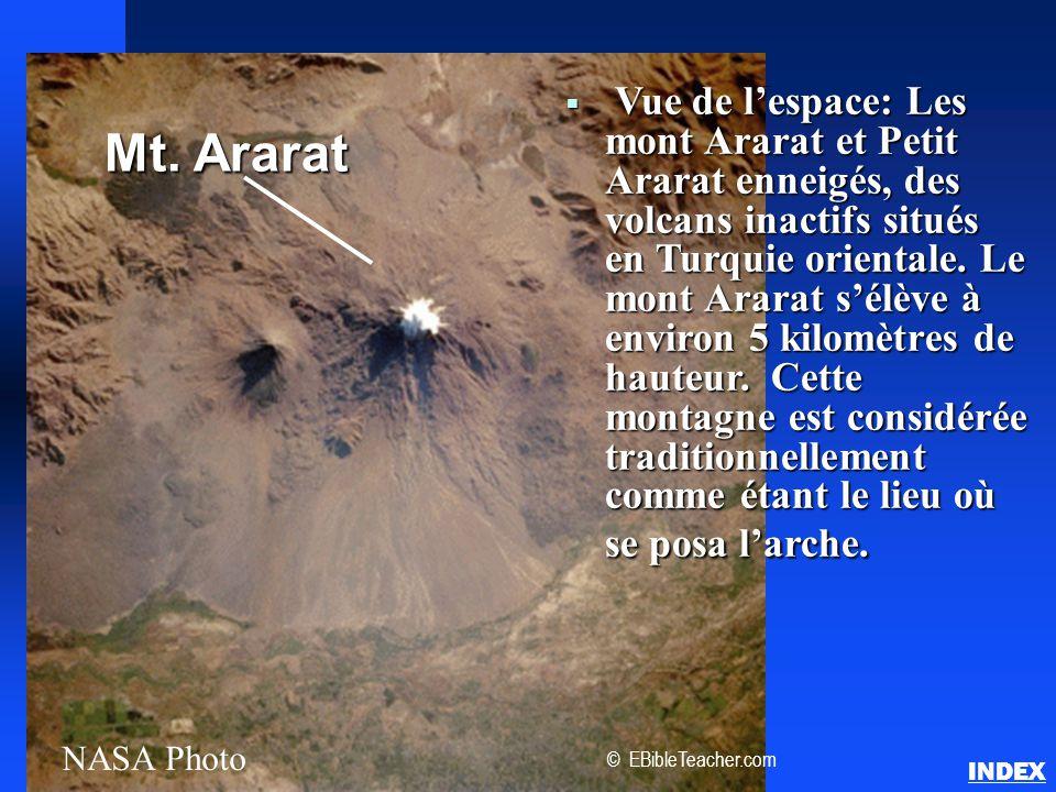 Vue de l'espace: Les mont Ararat et Petit Ararat enneigés, des volcans inactifs situés en Turquie orientale. Le mont Ararat s'élève à environ 5 kilomètres de hauteur. Cette montagne est considérée traditionnellement comme étant le lieu où se posa l'arche.