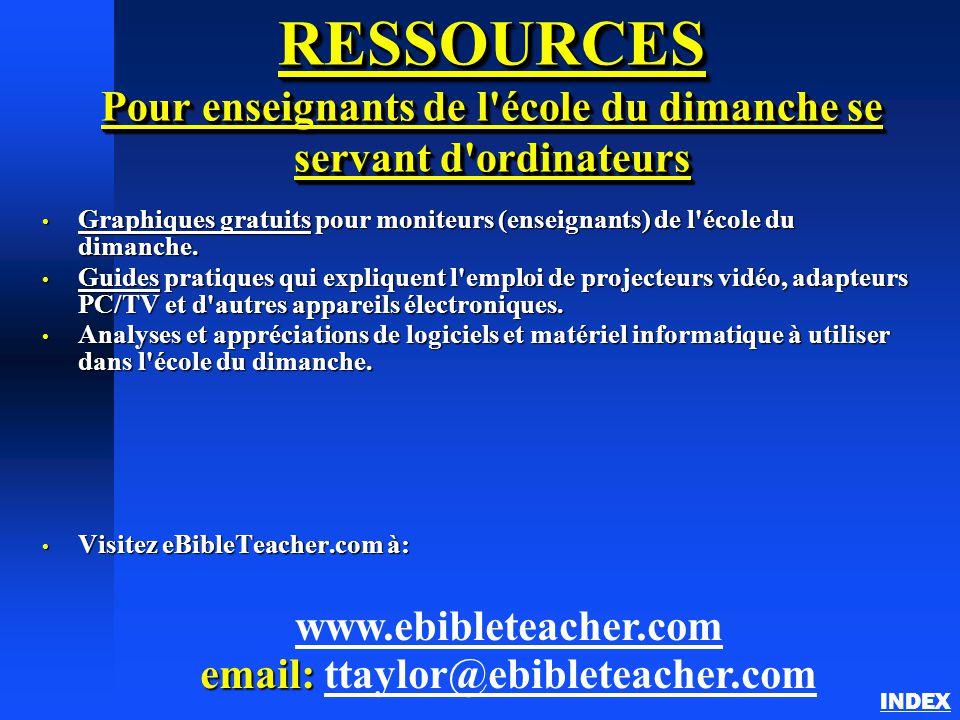 RESSOURCES Pour enseignants de l école du dimanche se servant d ordinateurs