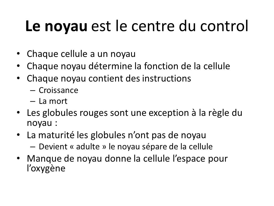 Le noyau est le centre du control