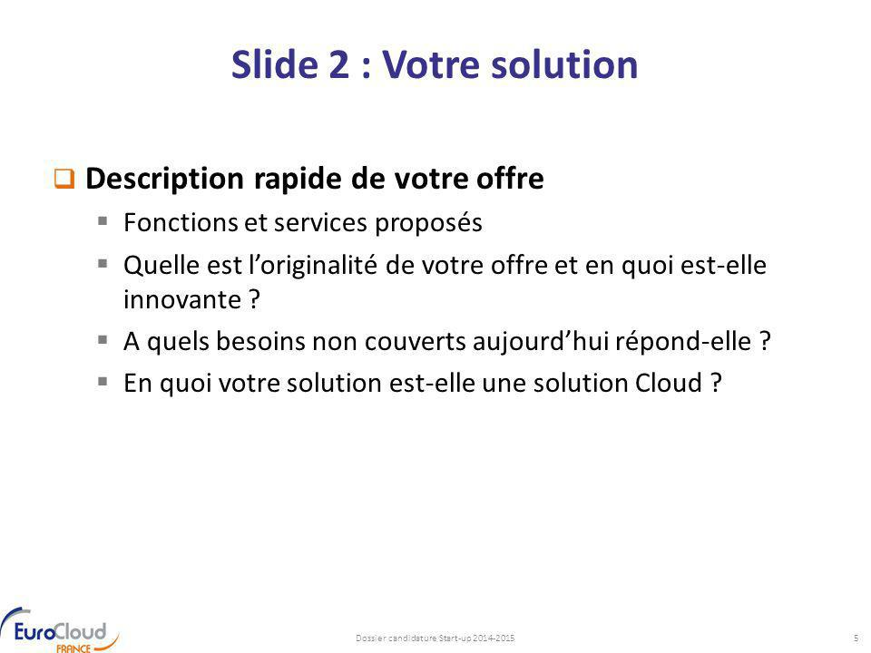 Dossier candidature Start-up 2014-2015