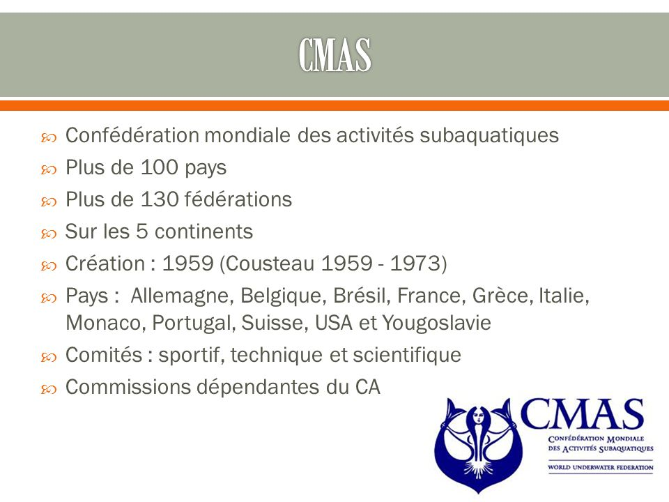 CMAS Confédération mondiale des activités subaquatiques