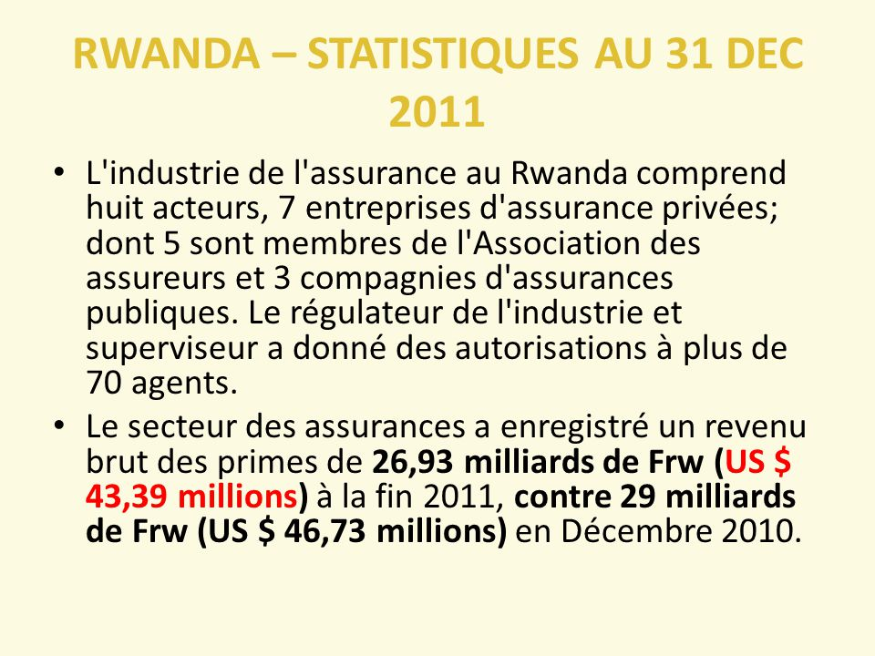 RWANDA – STATISTIQUES AU 31 DEC 2011