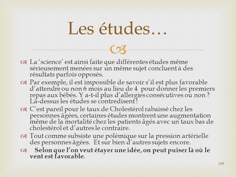 Les études… La 'science' est ainsi faite que différentes études même sérieusement menées sur un même sujet concluent à des résultats parfois opposés.