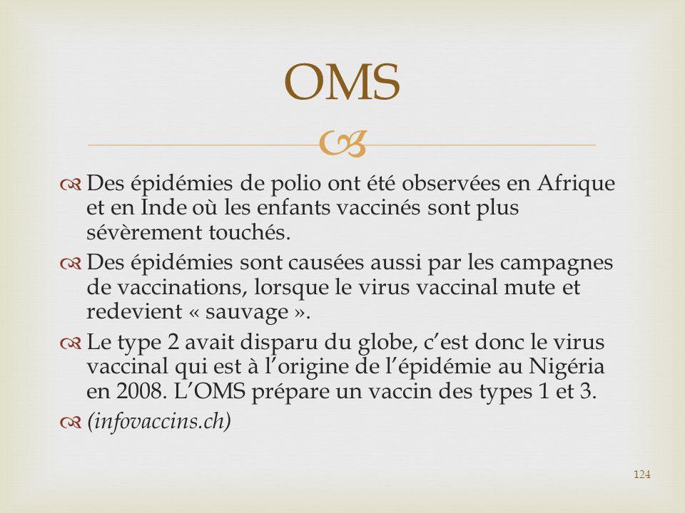 OMS Des épidémies de polio ont été observées en Afrique et en Inde où les enfants vaccinés sont plus sévèrement touchés.