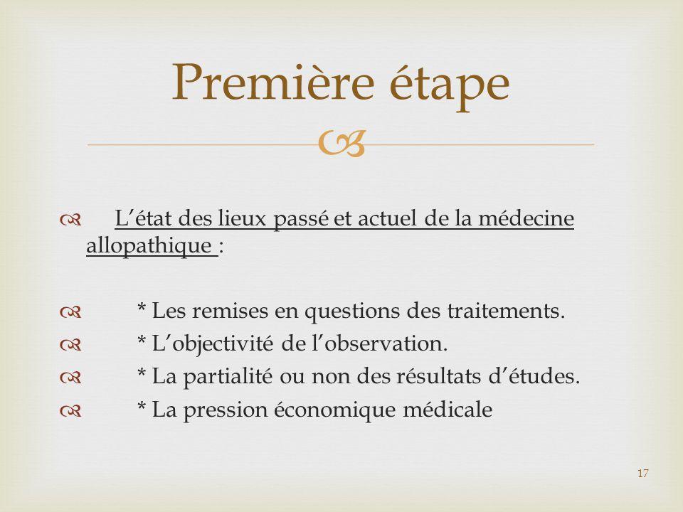 Première étape L'état des lieux passé et actuel de la médecine allopathique : * Les remises en questions des traitements.