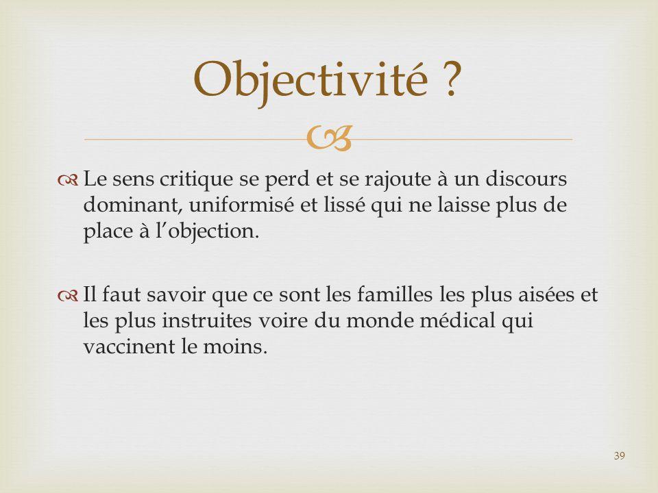 Objectivité Le sens critique se perd et se rajoute à un discours dominant, uniformisé et lissé qui ne laisse plus de place à l'objection.