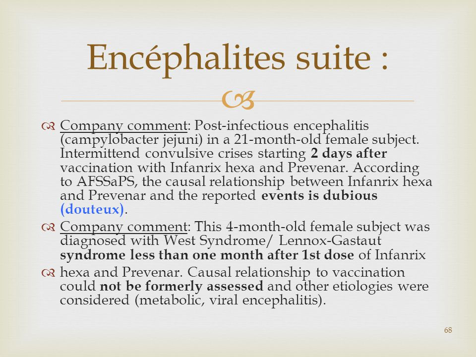 Encéphalites suite :