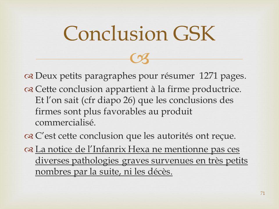 Conclusion GSK Deux petits paragraphes pour résumer 1271 pages.