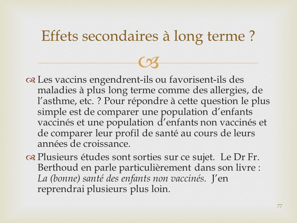 Effets secondaires à long terme