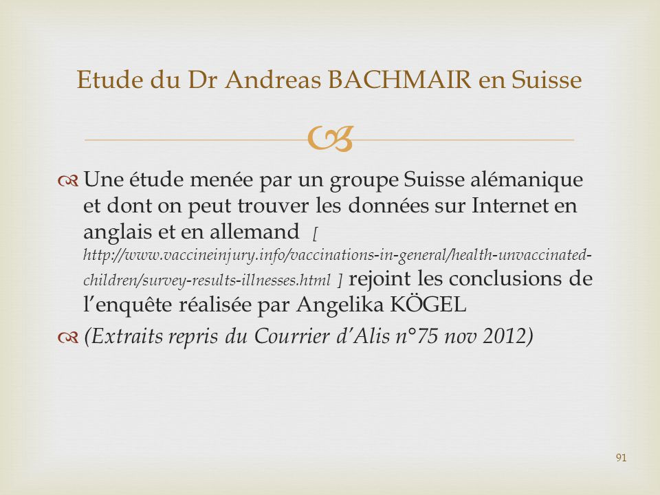 Etude du Dr Andreas BACHMAIR en Suisse