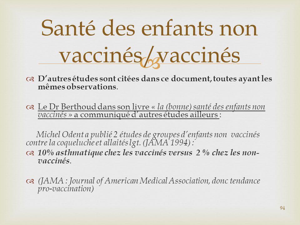 Santé des enfants non vaccinés/vaccinés