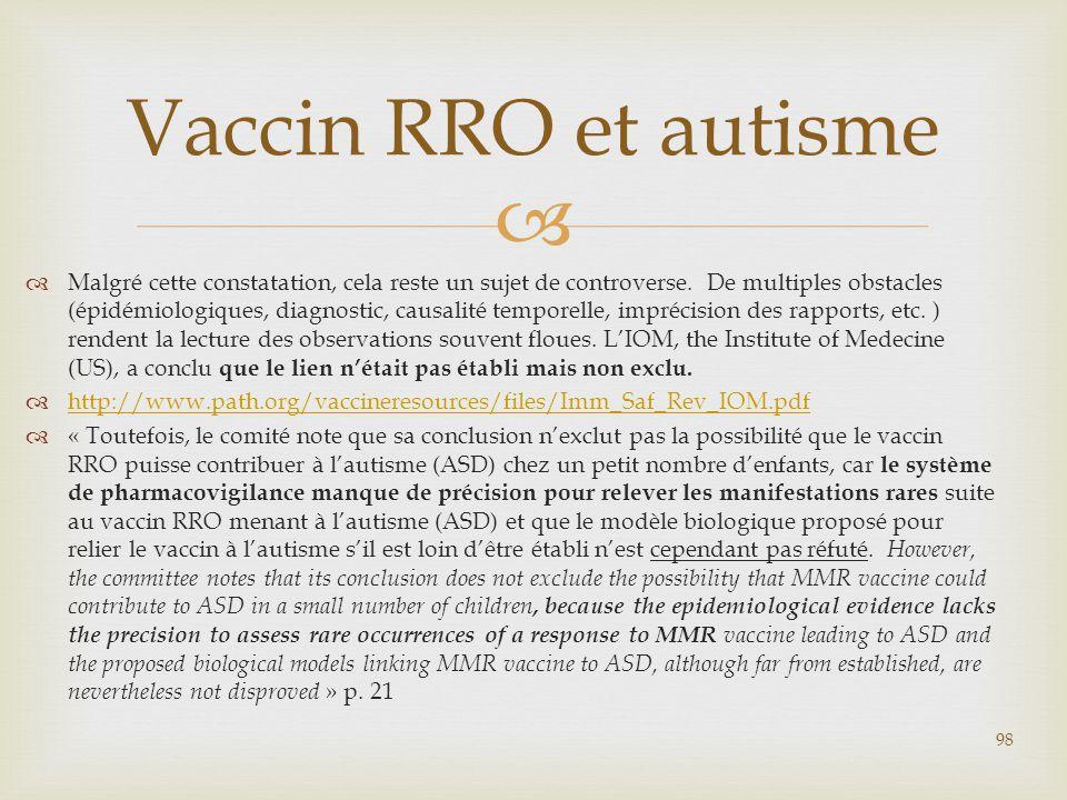 Vaccin RRO et autisme