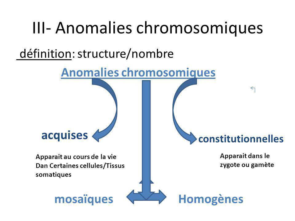 III- Anomalies chromosomiques