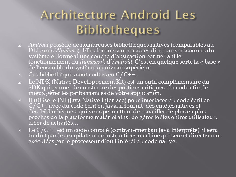 Architecture Android Les Bibliotheques