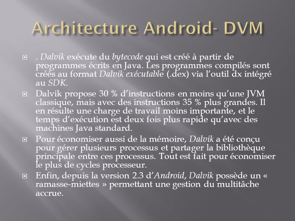 Architecture Android- DVM