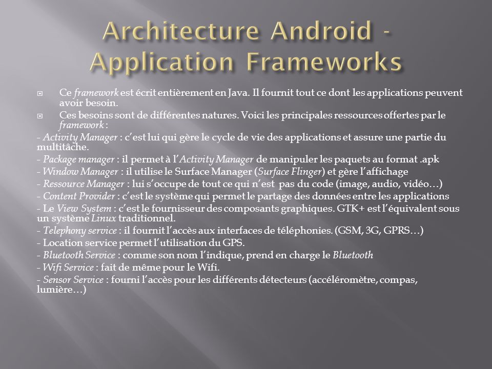 Architecture Android -Application Frameworks