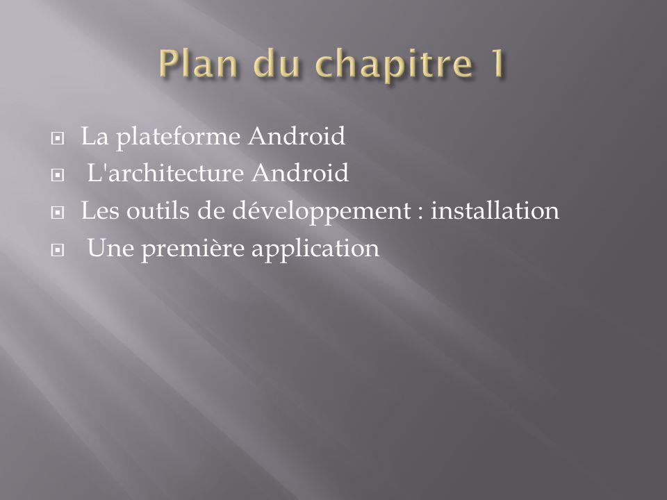 Plan du chapitre 1 La plateforme Android L architecture Android