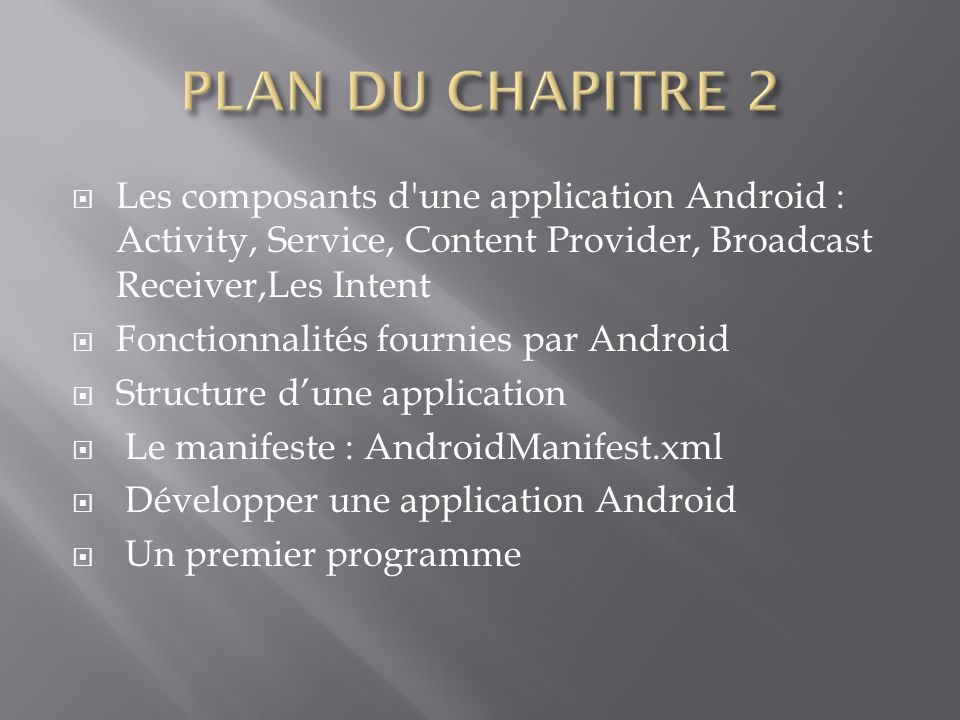 PLAN DU CHAPITRE 2 Les composants d une application Android : Activity, Service, Content Provider, Broadcast Receiver,Les Intent.