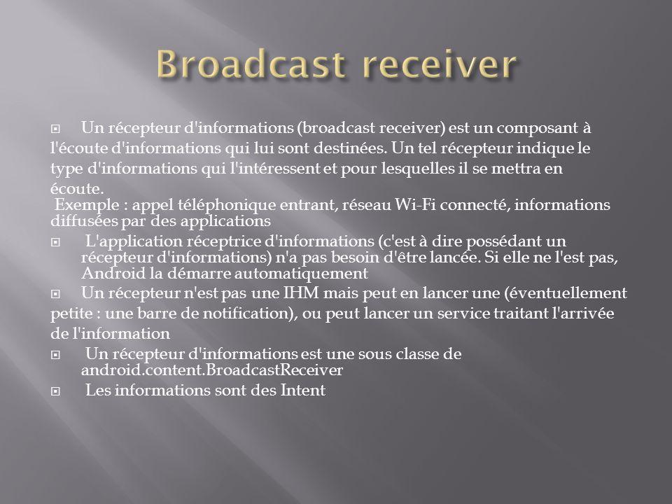 Broadcast receiver Un récepteur d informations (broadcast receiver) est un composant à.