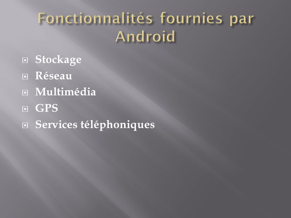 Fonctionnalités fournies par Android