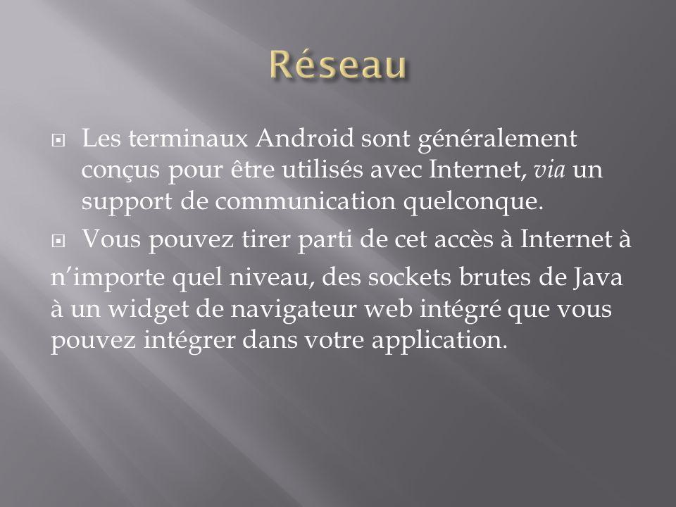 Réseau Les terminaux Android sont généralement conçus pour être utilisés avec Internet, via un support de communication quelconque.