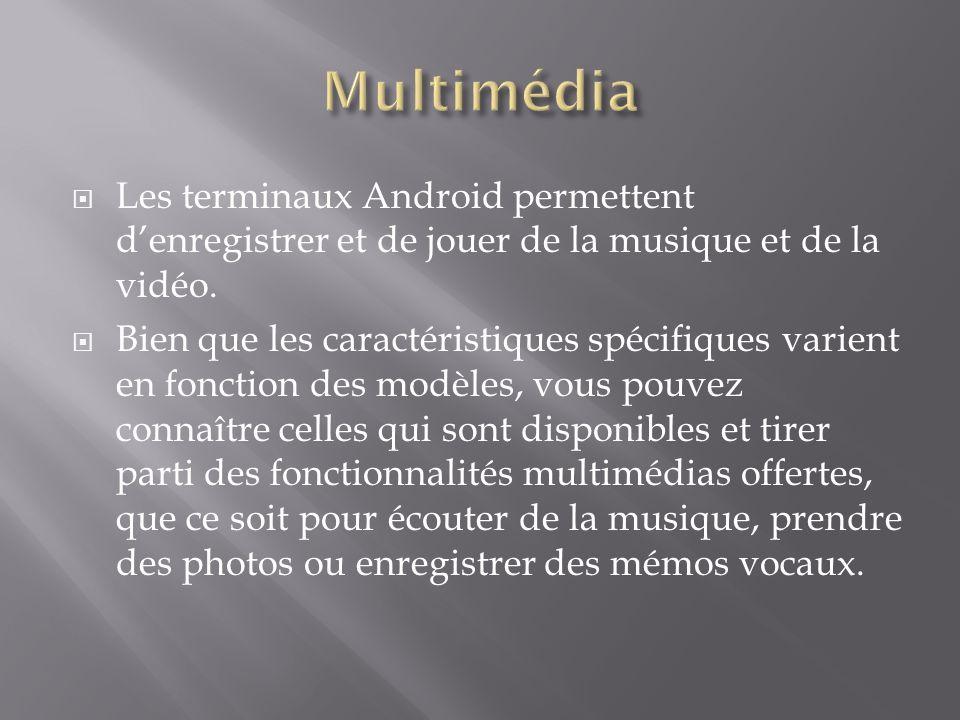 Multimédia Les terminaux Android permettent d'enregistrer et de jouer de la musique et de la vidéo.