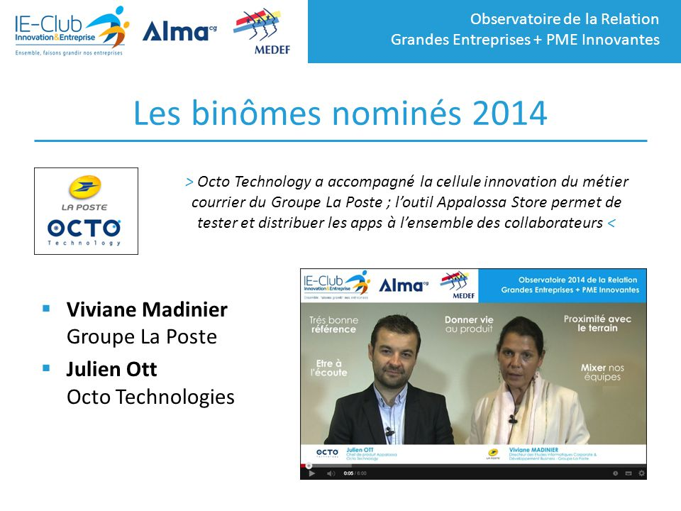 Les binômes nominés 2014 Viviane Madinier Groupe La Poste