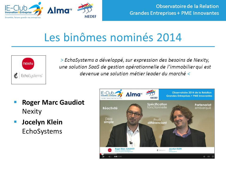 Les binômes nominés 2014 Roger Marc Gaudiot Nexity