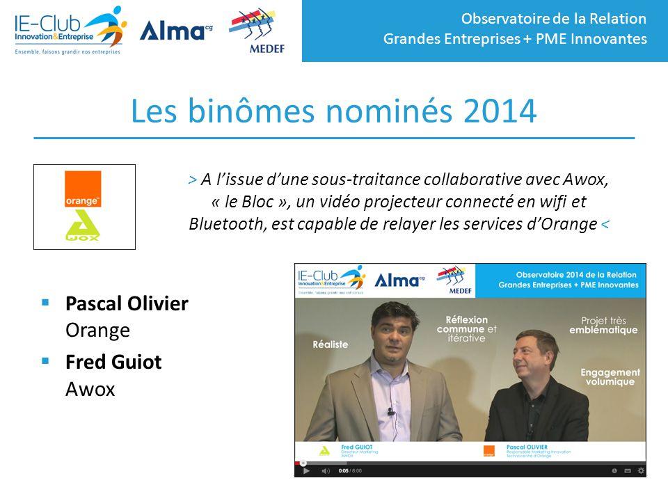 Les binômes nominés 2014 Pascal Olivier Orange Fred Guiot Awox