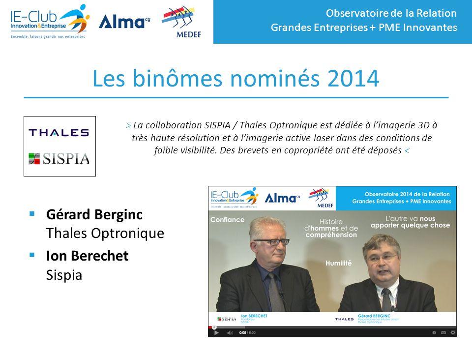 Les binômes nominés 2014 Gérard Berginc Thales Optronique
