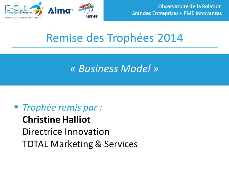 Remise des Trophées 2014 « Business Model »