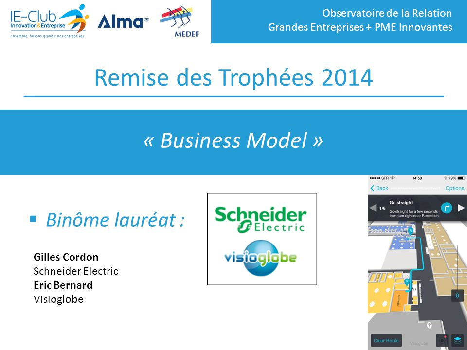 Remise des Trophées 2014 « Business Model » Binôme lauréat :